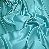 Supgod - Splendido tessuto in raso di seta al metro per abiti su misura, matrimoni, cerimonie, colore: turchese