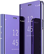 iPhone 8 Plus Case, iPhone 7 Plus Case, Ankoe Luxury Translucent View Mirror Flip Electroplate Plating Stand Shockproof 360 Full Body Protective Hard PC Cover for iPhone 7 Plus / 8 Plus (Purple)