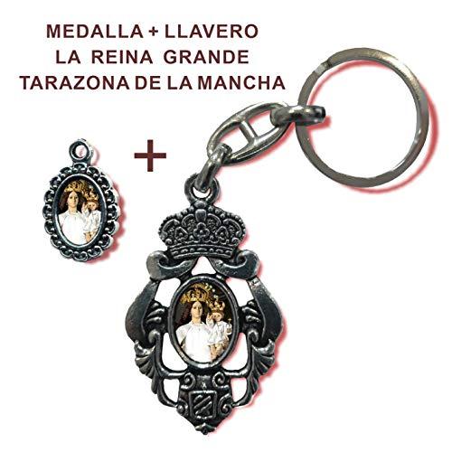 Llavero + Medalla La Reina Grande de Tarazona de la Mancha (Albacete). De Regalo estampas de San Miguel, San Expedito, San Judas Tadeo y San Pancracio