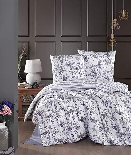 ZIRVEHOME Bed Linen 155 x 220 cm 4-Piece White/Purple 100% Cotton Renforcé Reversible Duvet Cover Set Purple Floral and Striped Pattern Concealed Zip Montera v2