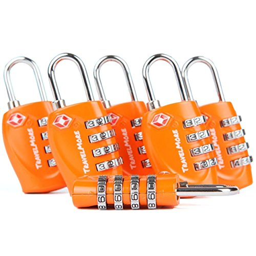 6 Pack TSA Approved Luggage Locks for Travel Safety, Small 4 Digit Combination Padlocks for Suitcases, Lockers & Bags