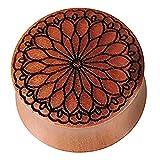Incisione xilografica Chic netto Plug Sawo marrone cuore fiore nero Expander Tribal 26 millimetri Organic