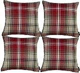 McAlister Textiles Angus | 4er Packung Gefülltes Kissen für Sofa, Couch im Tartan-Muster kariert...