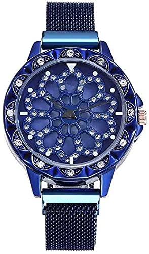 Mano Reloj Reloj de pulsera reloj de oro rosa de lujo para mujeres banda magnética de malla de malla de acero inoxidable reloj de pulsera de cuarzo de acero inoxidable dama relojes femeninas Relojes D