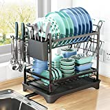 Dish Drying Rack, 2 Tier Dish Drying Racks with Drainboard, High Capacity Dish Racks for Kitchen Counter, Stainless Dish Rack and Dish Drainer for Kitchen Counter