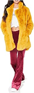 neveraway Women Solid Shaggy Pockets Outwear Loose Jacket Coat