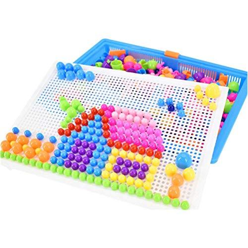Mosaik Spielzeug, Steckspiel ab 3 + Kinder, Steckspielzeug Pilz Nagel Puzzle Pegboard mit 296 Steckknöpfe Lernen Pädagogische ungen Spielzeug