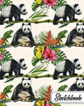 Sketchbook: Exotic Floral Journal Book for Drawing, Sketching, Painting & Writing | Plumeria Flower Workbook & Notebook for Class, Work or Home Use | Beautiful Panda Bear