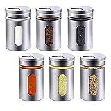 ToKinCen Set di 6 barattoli per spezie, in acciaio inox, 100 ml, con finestrella e 3 livelli di regolazione, per spezie, erbe aromatiche
