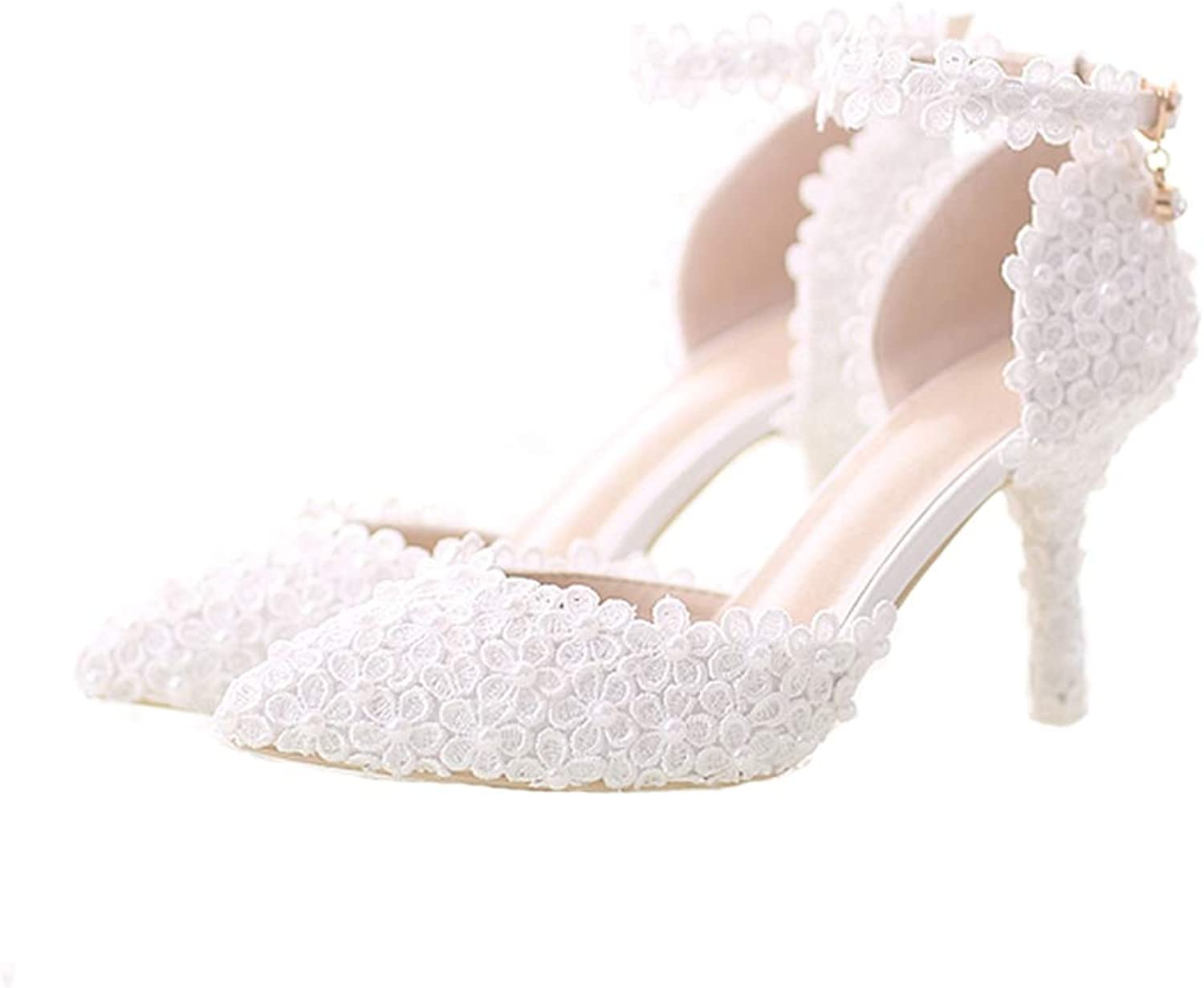 Sparrow White Lace Flower Bride Dress shoes Pointed Toe Stiletto Middle Heel Wedding Party shoes with Ankle Strap Bridesmaid Pumps