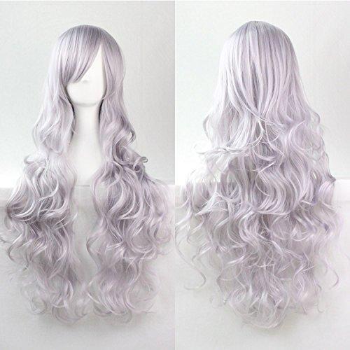 Mujeres Ladies Girls 80cm gris claro color largo rizado pelucas de alta calidad Carve pelo del partido de Cosplay del Anime del traje Bangs completa Sexy Pelucas