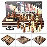 3-in-1 Folding Travel Chess / Checkers / Backgammon 11.4'' Wooden Magnetic Chess Set with Carrying Case for Kids Beginners & Adults Portable and Easy for Travel