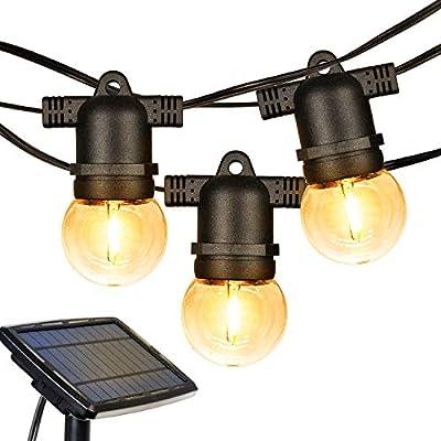 Solar String Lights, 27FT LED Outdoor String Lights, Waterproof Globe Lights with 12 Hanging Sockets, Light Sensor, 1W Retro Edison Plastic Bulb Create Bistro Ambience for Backyard Patio