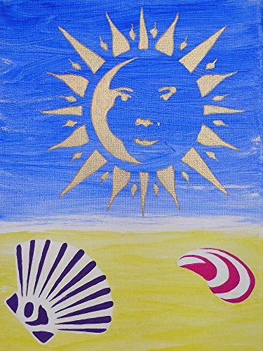 Bild Sonne und Muscheln auf Leinwand 18x24 cm Kinderzimmer Kunstwerk zum Aufhängen Acrylmalerei auf Leinwand mit Holzkeilrahmen