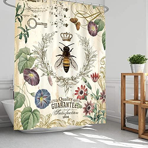 Ambsunny Vintage-Bienen-Duschvorhang mit blühenden Wildblumen, ländlich, französischer Garten, Königin, rustikales Design, Stoff, Badezimmer-Deko-Set mit 12 Haken, 152,4 x 180,3 cm, Beige Grün