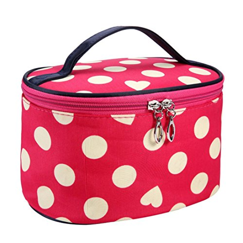Fulltime® Imperméable Femmes Retro Pro Maquillage Dot Beauty Case Grand Cosmetic Toiletry Bag (WR)