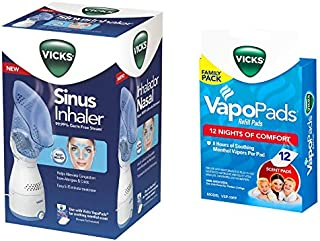 Vicks Personal Sinus Steam Inhaler with Pads Bundle (Sinus Inhaler w/ 12 Pads)