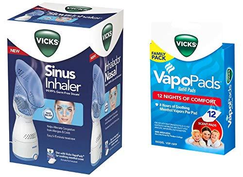 Vicks Personal Sinus Steam Inhaler with Pads Bundle (Sinus Inhaler w/ 12 Pads)