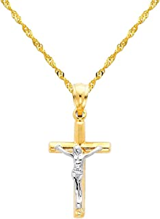 14k Two Tone Gold Jesus Cross Religious Pendant with 1.2mm Singapore Chain Necklace