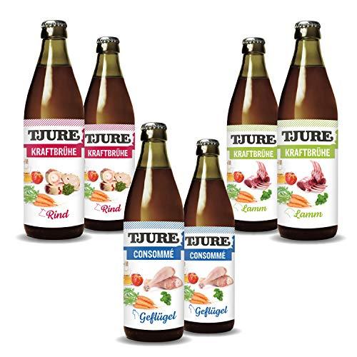 Tjure Kraftbrühe - 5 + 1 Mixaktion (6 x 320 ml Flasche) - 2X Geflügel, 2X Rind und 2X Lamm