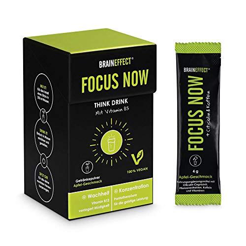 BRAINEFFECT FOCUS NOW - Konzentrations-Drink Pulver mit Vit. B5 - Kaffeeersatz Wachmacher Aufputschmittel Gegen Müdigkeit - 15 Sticks - 60 g - Für Veganer Geeignet