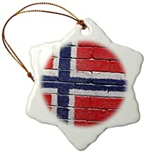Promini National Flag of Norway Painted onto A Brick Wall Norwegian Snowflake Porcelain Ceramic Ornament, 3 Inch