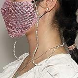 Yienate Boho-Multifunktions-Perlen-Masken-Kette, Gesichtsmaske, Zubehör, modische gemischte Farben, Perlenkette, Brillenkette, Halskette für Frauen und Mädchen (weiß)