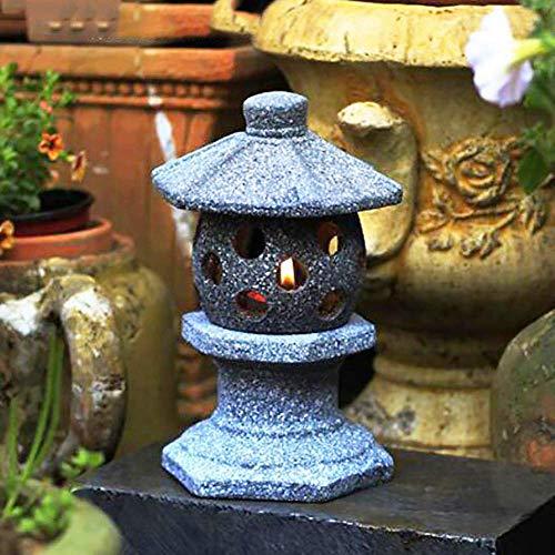 Betonkerzenhalter im japanischen Stil - Imitation Stone Vintage Orientalische Kek Lok SI Pago/Laterne + 30 cm Für die koration im Freien