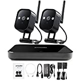 Zmodo Replay 1080p 4-Channel HDMI NVR Wireless WiFi Smart Home Surveillance Security Camera System w/ 2 True 720p HD Weatherproof Cameras, no HDD