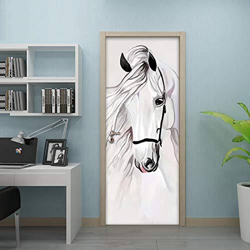 HHANN Papel Pintado Puerta Escalera 3D 77Cm X 200Cm Caballo Blanco Animal Foto Mural Incluye Pegamento Impermeable Papel Pintado Puerta Mural Vinilos Decorativos Para Puertas