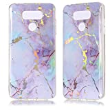 DAMONDY for LG G6 Case,3D Shiny Marble Glitter Ultra Thin Slim Back Skin Full Body Protective Soft TPU Rubber Bumper Case Phone Cover for LG G6-Pink Purple