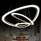Lámpara colgante de techo LED con cristales, diamantes y tres anillos (diámetros:...