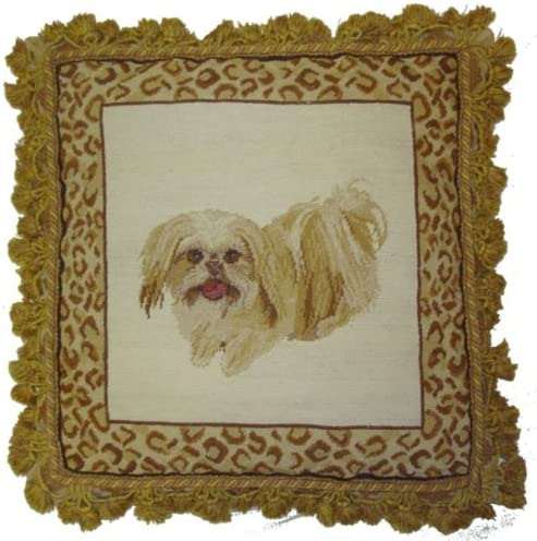 Deluxe Pillows Long Hair Dog cheap - 18 needlepoint 18x pillow Deluxe in.
