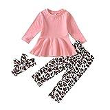 Conjunto de ropa para recién nacidos para bebés y niñas con estampado de leopardo, 12 a 5 m