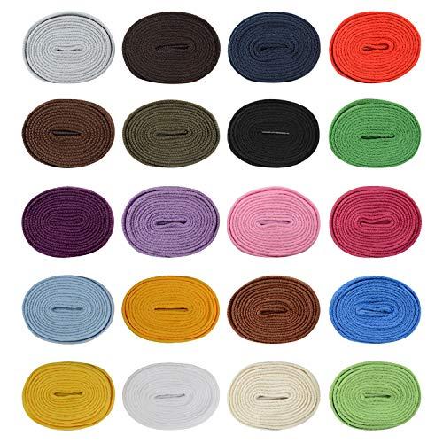 Stonges 20 pares de cordones de cordones planos Cuerdas Reemplazo de cordones de zapatos atléticos de 5/16