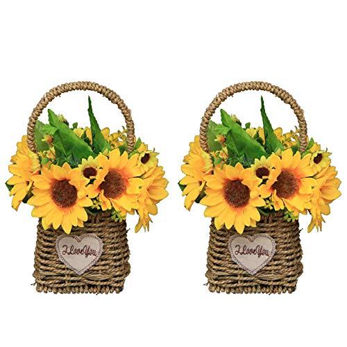 Flikool 2pcs Girasol Artificial de Seda con Jarrón Flores Decorativas con Cesta de Flores Tejidas Plantas Artificiales en Maceta 8 Cabezas Arreglos Florales para Balcón Hogar Boda Oficina Partido