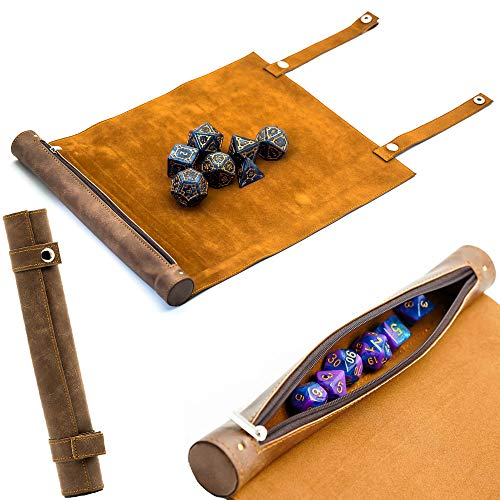 Cusdie 2 in 1 Dice Rolling Mat&Zippered Dice Holder with 7 Pcs DND Dice - Compatible with DND Polyhedral Dice Dungeons and Dragon (Brown)