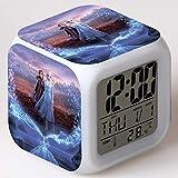 SXWY Frozen Reloj despertador digital Luces de colores Humor Reloj despertador Cuarteto disponible Carga USB Adecuado para niños, niñas y niños Regalos especiales (02)