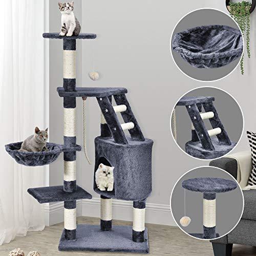 Sam´s Pet Katzen Kratzbaum Buffy grau – Katzenbaum mit Höhle, Liegemulde, Liegeflächen, Spielseil & Sisal – 118 cm hoch Katzenkratzbaum Kletterbaum