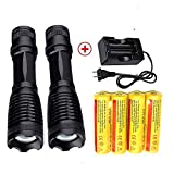 LED 18650 Flashlight 2000 LM(2 packs) with 4PCS 3.7V 5000mAh Rechargeable Battery and Charger,XML-T6 handhold flashlight Ultra Bright Adjustable Focus and 5 Modes for outdoor sports. (Flashlight+)