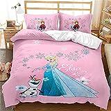 LKFFHAVD Disney Frozen - Juego de cama con funda nórdica y funda de almohada (135 x 200 cm, 23)