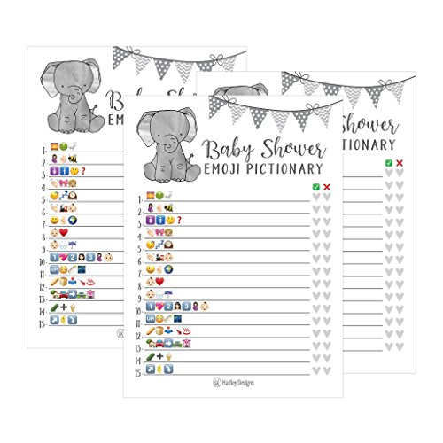25 Elephant Emoji Pictionary Baby Shower Games Ideas For Men, Women, Kids, Girls or Boys, and Couples, Cute Shower Party Bundle Set, Gray Gender Neutral Unisex Fun Coed Adult Funny Guessing Cards