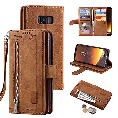 EYZUTAK Handyhülle für Samsung Galaxy S9 Plus Hülle,Flip Hülle Lederhülle Reißverschluss Magnetverschluss Brieftasche mit 9 Kartenfächern Standfuntion Retro Matt Ledertasche-Braun