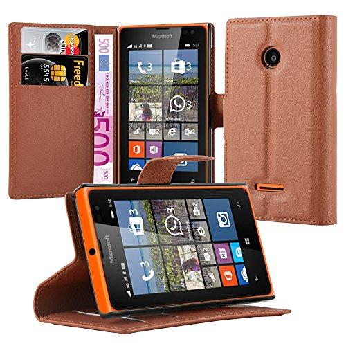 Cadorabo Hülle für Nokia Lumia 532 - Hülle in Schoko BRAUN – Handyhülle mit Kartenfach & Standfunktion - Case Cover Schutzhülle Etui Tasche Book Klapp Style