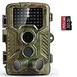COOLIFE Wildkamera Fotofalle 20MP 1080P HD Jagdkamera Nachtsicht Bewegungsmelder IP66 Wasserdichter& Staubdicht 3-Zonen-Infrarotsensor 125 °Weitwinkel Nachtsichtkamera mit 32G Speicherkarte