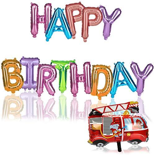 com-four® 2-teiliges Set Ballons - Geburtstagsdeko mit Folien-Ballon Happy Birthday - Set aus Girlande und Feuerwehr-Luftballon (2-teilig - Girlande/Feuerwehr)