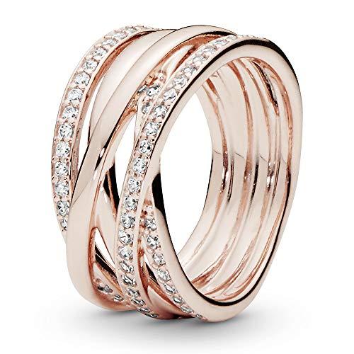 Pandora Damen-Bandring Silber_vergoldet mit '- Ringgröße 56 (17.8) 180919CZ-56