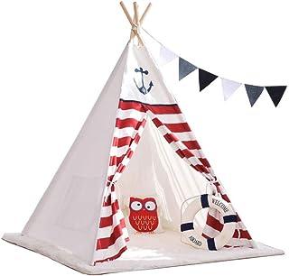 Vobajf Lektält barn tipi-tält 100 % bomull inomhus och utomhus småbarn lekstuga för barn småbarn lektält (färg: Vit, storl...