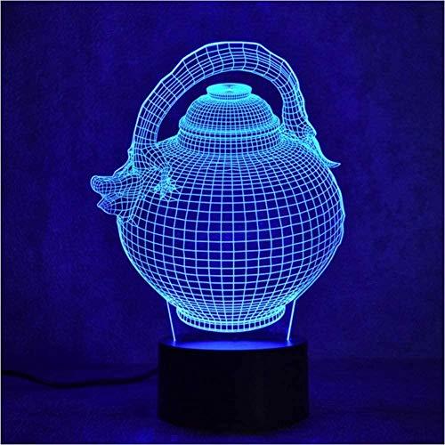 giyiohok 3D LED Night Light Colorful Changeable Gradient Fashion Sculpture Light USB Flagon Teapot Desk Lamp Gift
