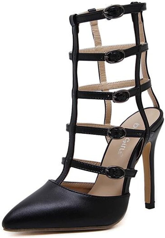 FORTUN Hollow high Heels Women's Multi-Buckle Sandals Pointed Toe high Heels